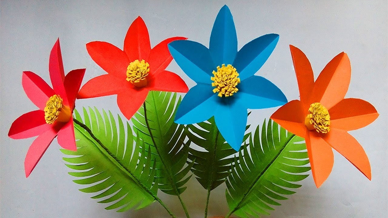 How to make paper flowers easy | flower crafts with paper | easy paper flowers