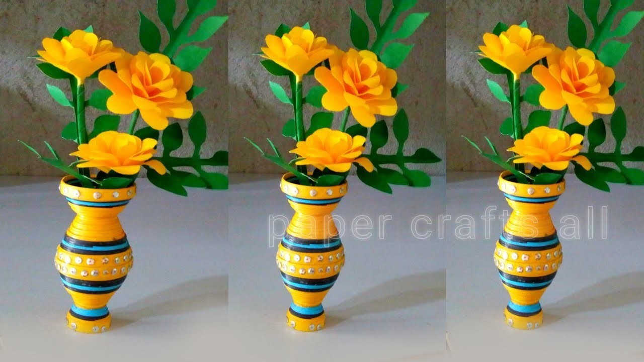 How To Make Paper Quilling Vase New Design Paper Flower Vase