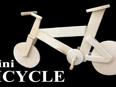 How to make popsicle stick miniature Bicycle | Easy crafts ideas
