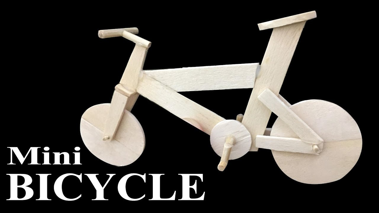How to make popsicle stick miniature Bicycle   Easy crafts ideas