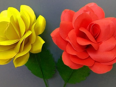 How to make rose flower with paper | paper flower making step by step