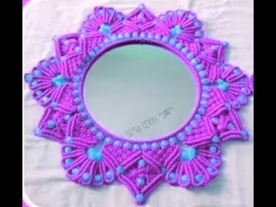 How to make.round safe mirro macrame _ new design_ at home. beautiful gol mirror.