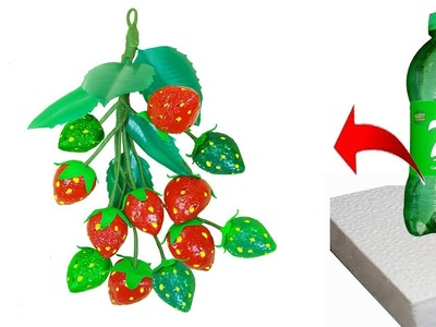 How to make strawberry with best out of waste. Wall hanging strawberry