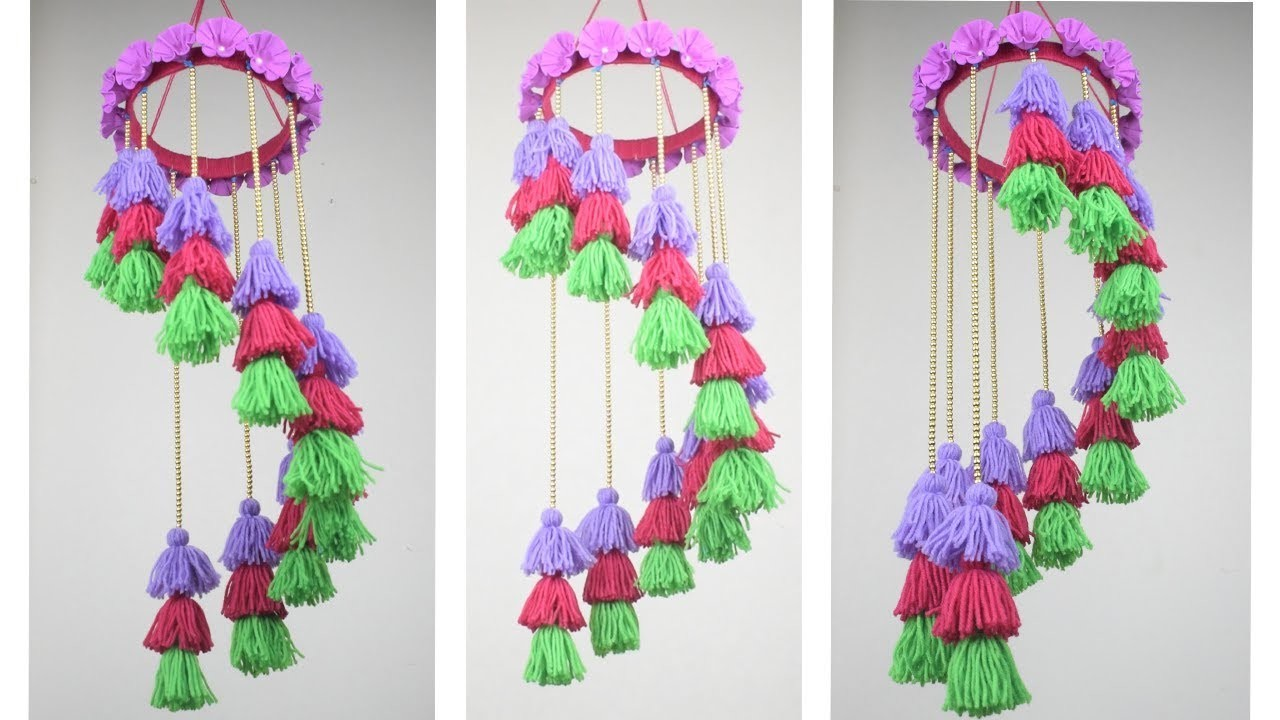 How To Make Wind Chime Using Woolen | Handmade Wind Chimes Idea With Recycle Materials
