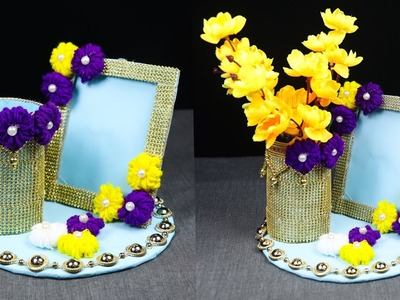 How To Transform Plastic Bottle & Cardboard into Beautiful Vase and Frame | Plastic Bottle Crafts