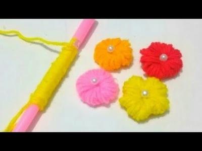 #No_Knitting Woolen Flower Making Using a Pen. Yarn Flower. No knitting Yarn Flower.Hand Embroidery