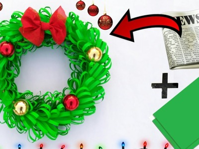 Paper Christmas wreath | christmas decoration idea | how to make christmas wreath | paper craft