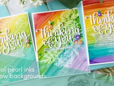 Alcohol Pearl Inks Rainbow Backgrounds (Thinking of You Cards)