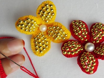 Amazing hand embroidery with Finger Flower tricks| easy sewing hacks with pearl