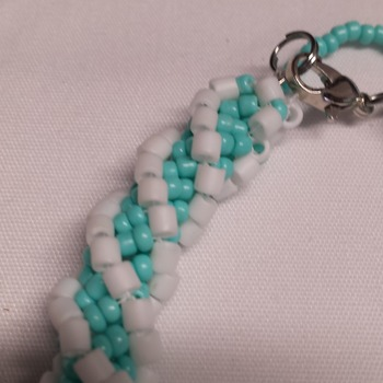 Turquoise and White spiral bracelet
