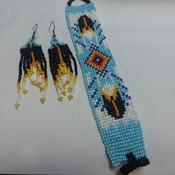 Bracelet and earrings beaded