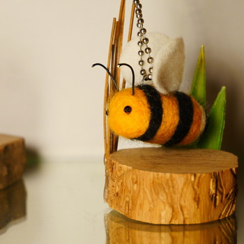 Bumble Bee Charm Key Chain Felt Soft Wildlife Accessories