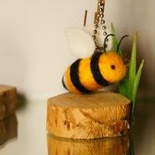 Bumble Bee Charm Key Chain Felt Soft Wildlife Accessories