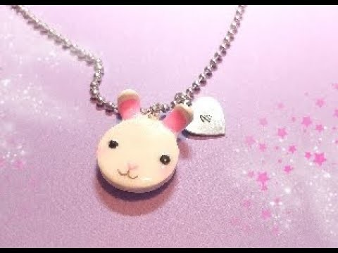 Cute polymer clay Bunny necklace, Polymer clay jewelry ideas