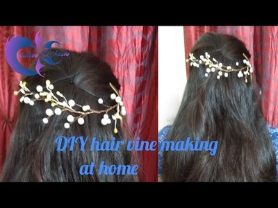 D.I.Y beautiful pearl hair accessory | hair vine making at home