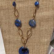 Dark blue on Copper chain Necklace