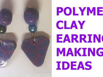 DIA POLYMER CLAY  SERCULAY SHAPE WITH FLAWER AND HEART    EARING MAKING IDEAS