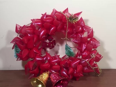 DIY  -  how to make a Christmas  bottle wreath