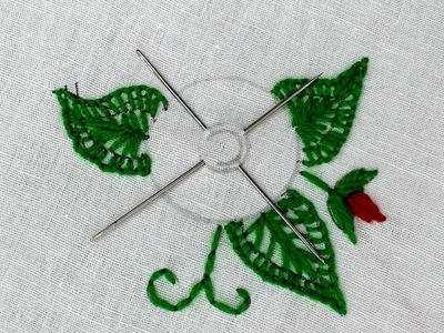 Hand embroidery : flower design sewing hack with needle.