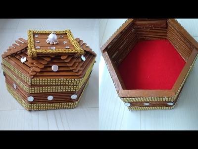 Handmade Jewelry  Box | Ice cream stick jewelry Box |66|