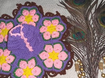 How to make crochet  flower dress for Laddu Gopal.Kanha ji
