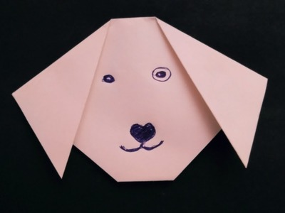 How to make origami dog face easy - paper dog face