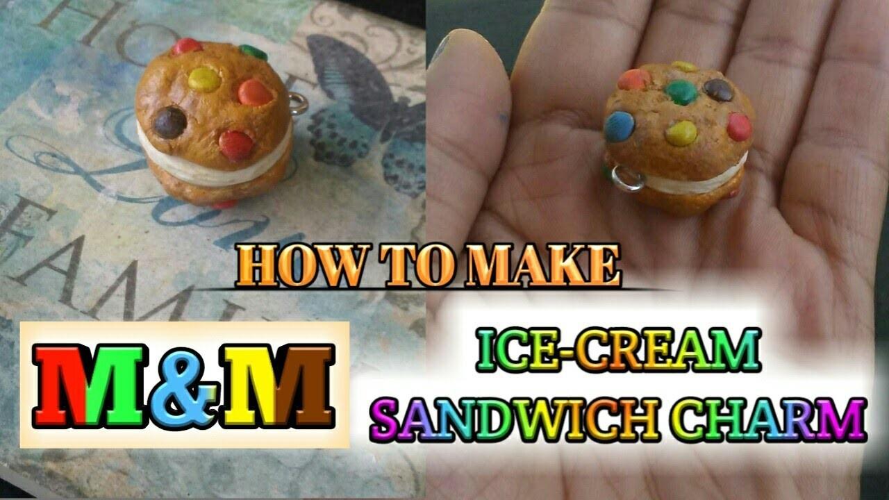 M&M Ice-Cream Sandwich Charm (polymer clay)