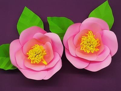 Paper Camellia Flowers Tutorial for Decor - DIY Paper Crafts