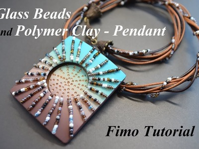 Polymer clay Fimo tutorial glass bead pendant кулон с бисером из полимерной глины