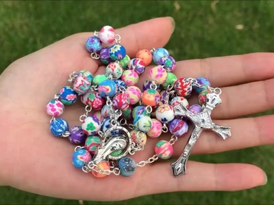 Popular Holy Rosary Necklace Colorful Polymer Clay Beads