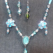 Turquois blue leather necklace