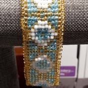 turquois ,Gold, White 1inch wide cuff