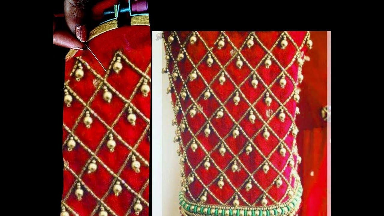 #34  జాకెట్టు కోసం పూర్తి డిజైన్ || Beads Hanging Heavy sleeves design stylish trends