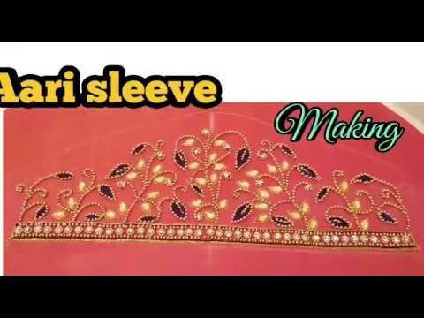 Aari work blouse with sugar beads . maggam work blouse with sugar bead -simple aari blouse - part 2