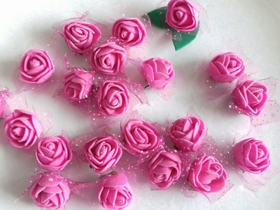 Best out of waste.Waste material recycling craft idea.DIY.Hairband making tutorial.Foam rose craft