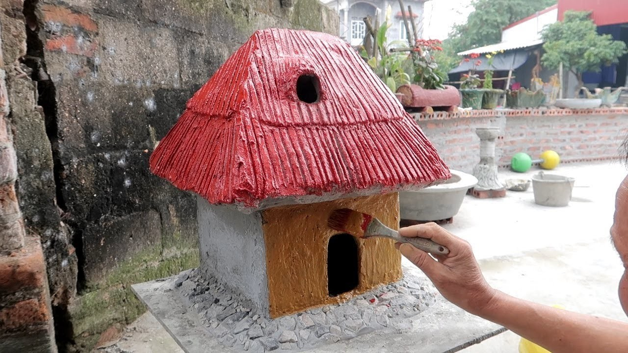 Construction - DIY House Cement - How To Make House From Fabric and Cardboard Easy