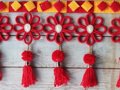 DIY easy woolen and newspaper door hanging - DIY Innovativ Ideas