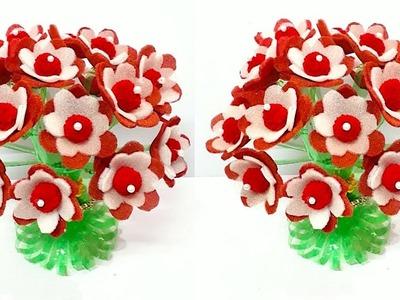 DIY - Guldasta from Plastic Bottle with  Foam flower   Best out of waste-Foam flower Guldasta