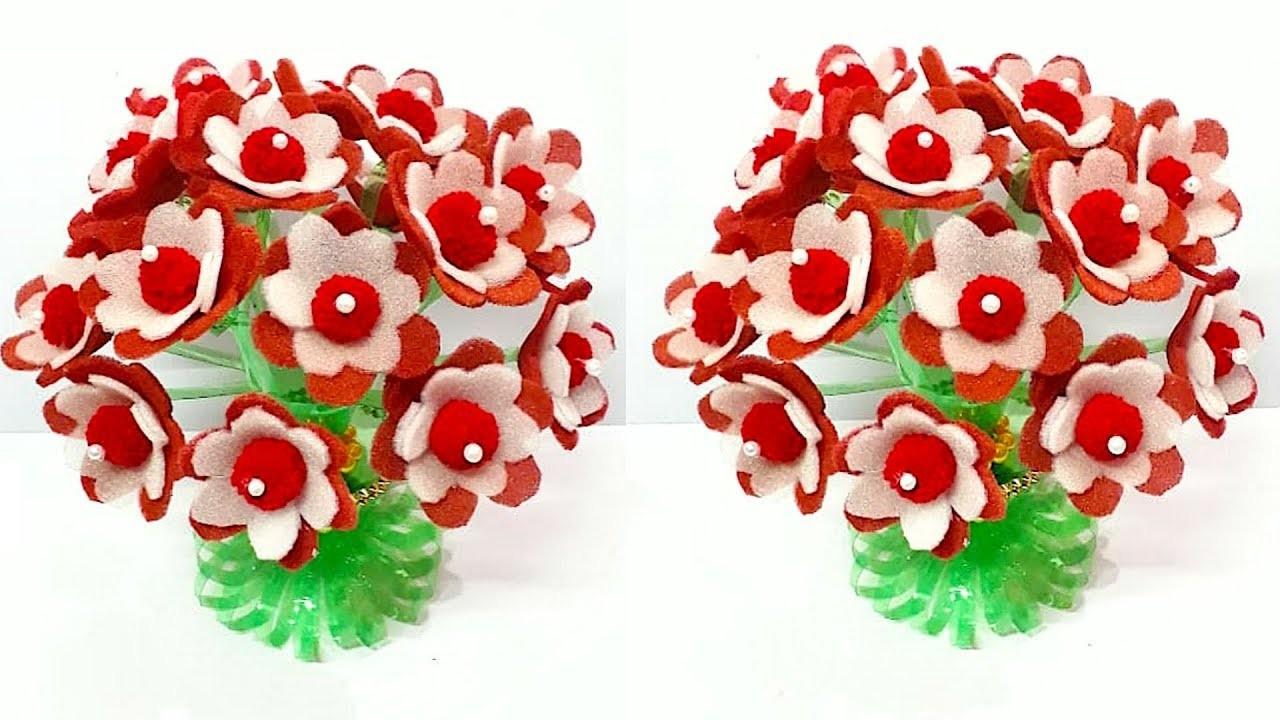DIY - Guldasta from Plastic Bottle with  Foam flower | Best out of waste-Foam flower Guldasta