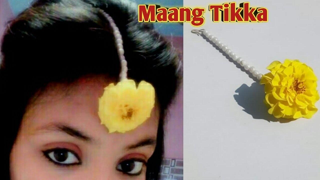 DIY How To Make mangtika for haldi.diy how to make fresh flowers jewelry