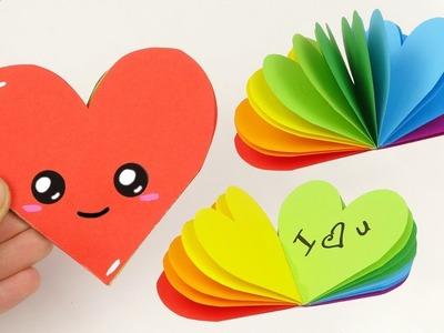 DIY mini notebook rainbow heart shape | DIY Notebook