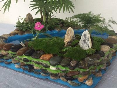 Diy - Miniature Landscape Attractive From Stone And Cement. Garden Design Ideas