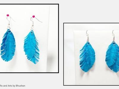 Easy Paper feather earrings | Handmade earrings #papercraft #handmadeart