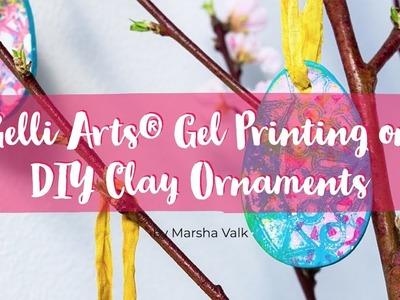 Gelli Arts® Gel Printing on DIY Clay Ornaments