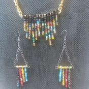 Gold chain on pins necklace and Earrings 150839