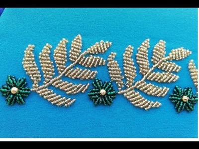 Hand embroidery; hand embroidery designe with beads.