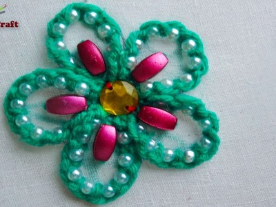 Hand embroidery: pearl beads flower |modern flower embroidery