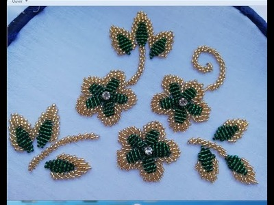 Hand embroidery,Simple Flower Embroidery Tutorial with two colors of beads