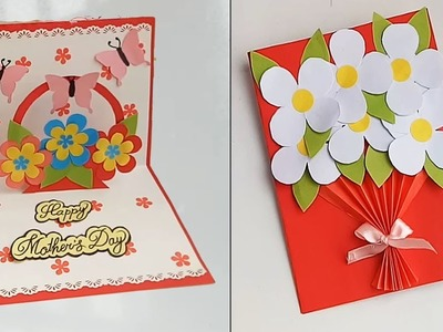 Handmade Mother's Day card.Mother's Day pop up card making idea.