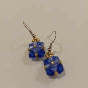 Handmade Royal Blue Tiny Square Earrings